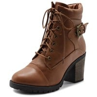 Women Shoe Lace Up Back Buckled Stacked Heel Ankle Boots