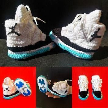 DCK7YE Nike Air Jordan 11 Space Jam XI Retro Baby And Toddler Crochet Slippers, Crochet Bab