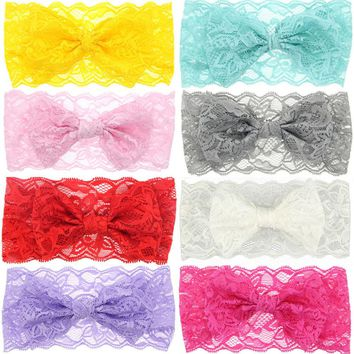 2PCS Hot Sale Fashion New Arrival Lovely Girls Flower Lace Bow knot Hairband Headband Headwear Hair Band Hair Accessories