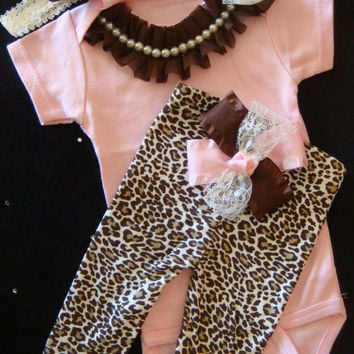 NEWBORN baby girl take home outfit complete bodysuit leopard print pants brown pink lace ribbon bows rhinestone pearl