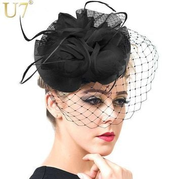 U7 European Style Veil Feather Women Hair Accessories Fascinator Hat Cocktail Party Wedding Headpiece Court Headwear Lady F302