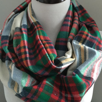 Beige Red and Green Tartan Plaid Infinity Scarf, Tartan Scarf, Flannel Scarf, Plaid Scarf, Gift for Women