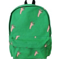 Washed  Canvas Graffiti Gestures Backpack in Green
