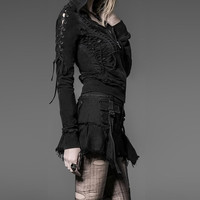 Gothic Punk Rock Black Denim Mini Skirt