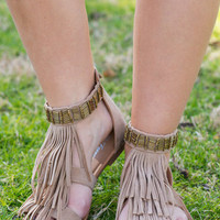 Fringe Goals Sandals, Tan