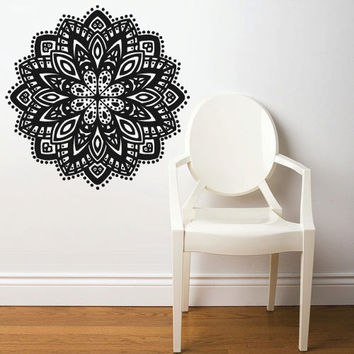 Wall Decal Vinyl  Mural Sticker Art Decor Bedroom Dorm Kitchen Ceiling Mandala Menhdi Flower Pattern Ornament Om Indian Hindu Buddha (z2831)