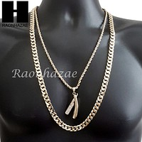 "MEN ICED OUT BARBER SHOP BLADE DIAMOND CUT 30"" CUBAN LINK CHAIN NECKLACE S075G"