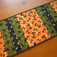 Quilted Table Runner Halloween Table Runner Bats, Cats and Ghosts Handmade Fall Decor