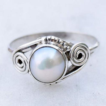 Pearl ring,Pearl Stone, silver ring,  silver Pearl  ring, stone ring, 92.5 sterling silver, Natural Pearl  stone Silver Ring  RNSLPR8