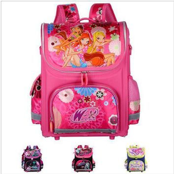 CREYCI7 Orthopedic Children School Bags For Girls New 2016 Kids Backpack Monster High WINX Book Bag Princess Schoolbags Mochila Escolar
