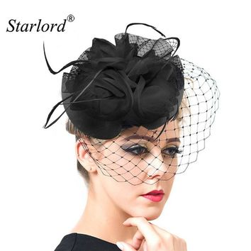 Starlord Women Chic Fascinator Hat Cocktail Wedding Party Church Headpiece Fashion Headwear Fancy Feather Hair Accessories F1802