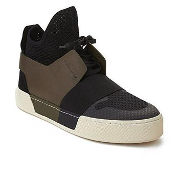 Balenciaga Men's Elastic Trainer High Top Sneaker Black Olive