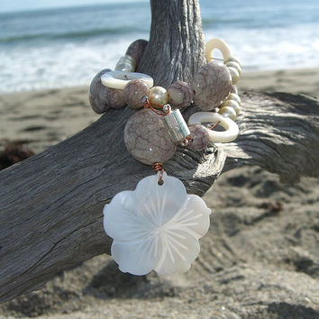 Flower Mother of Pearl Pendant Necklace-PLUMERIA FLOWER-Beach Wedding, Gifts for Her, Beach Jewelry, Stocking Stuffer, Tropical Jewelry,