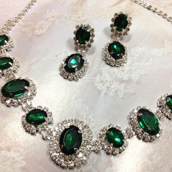 Wedding jewelry, bridesmaid necklace earrings, vintage inspired rhinestone bridal statement, Emerald Green crystal jewelry set