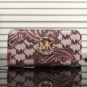 Perfect MK Women Leather Print Zipper Wallet Purse