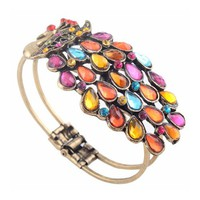 Multi Vintage Colorful Crystal Peacock Bracelet Bangle By Buyincoins - save winkie Shop