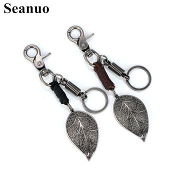 Seanuo 2017 Punk Art leaf shape Leather men women keychain bag pendant fashion Alloy Car home door key chain ring holder Jewelry