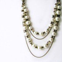 Ivory Pearl and Bronze Chain Multistrand Statement Necklace