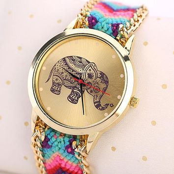 TRUNK UP FOR LUCK!!!  Elephant Woven Bracelet Watch
