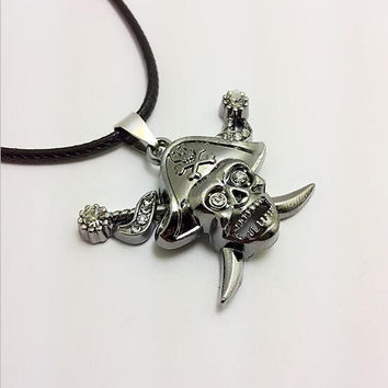 Shiny Jewelry New Arrival Gift Stylish Vintage Sea Skull Stainless Steel Star Hats Men Necklace [6526587203]
