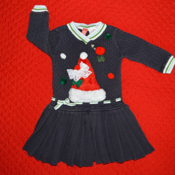 Baby Ugly Christmas Sweater Dress with Santa Hat 3 - 6 months