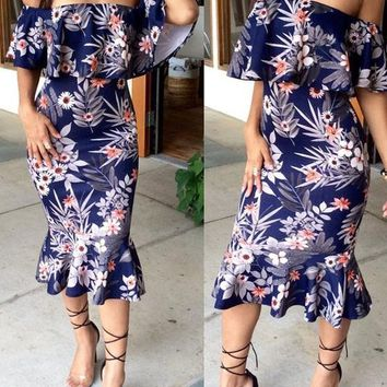 Dark Blue Floral Print Bandeau Ruffle Off Shoulder Mermaid Midi Dress