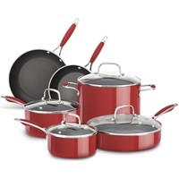 KitchenAid 10pc Aluminum Nonstick Cookware Set | Empire Red