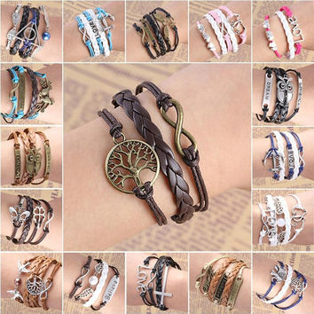 Fashion Girl Leather bracelet Multilayer Braided rasta bracelets & bangles for women christmas gift B509