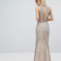 Miss Selfridge Premium Embellished High Neck Maxi Dress at asos.com