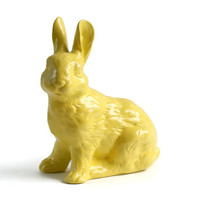 Ceramic Yellow Rabbit, Spring Decor, Upcycled Rabbit, Easter Decor, Easter Bunny, Yellow Bunny Rabbit