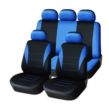 Universal Four Seasons Blue Black Fabric Car Seat Cover Protectors 9pc Full Set Airbag Compatible