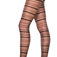 Sheer Pantyhose With Horizontal Stripes