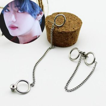 Lmikni Kpop BTS Album Long Chain Tassel Earrings Korean Jimin 316L Stainless Steel Drop BTS Earrings Jewelry Accessories