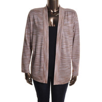 Jones New York Womens Plus Ribbed Knit Long Sleeves Cardigan Top