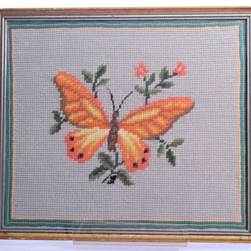 Framed Needlepoint Butterfly Embroidery Specimen Art for the Wall, Vintage from the 50s or 60s