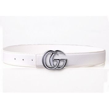 GUCCI Fashion Woman Men Fashion Smooth Buckle Waistband Leather Waistband  G
