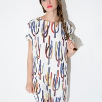 Cactus print shift dress