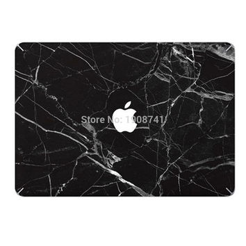 Black Marble Grain Front Cover Laptop Decal Sticker Case For Apple Macbook Air Pro 11 13 15 Inch Guard Protective Cover Skin