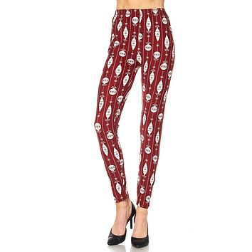 Women's Regular Red White Christmas Bell Deco Pattern Printed Leggings