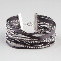Full Tilt 7 Row Friendship Bar Bracelet Black Combo One Size For Women 24287114901
