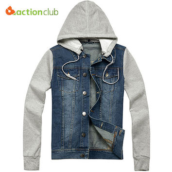 Free shipping New Arrive Autumn men 's jacket denim hooded jacket jean sweatshirt sleeve denim jacket High quality