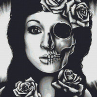 Modern Cross Stitch Kit By Carissa Rose 'In A Trance' Day Of The Dead Cross Stitch