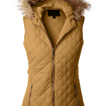 LE3NO Womens Quilted Puffer Jacket Vest with Detachable Hoodie