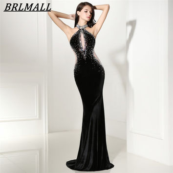 BRLMALL Graceful Black Halter Mermaid Evening Dress 2017 Velvet Beaded Crystal Prom Dress Formal Gown Backless robe de soiree