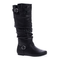 Kalisa106P Black Pu By Wild Diva, Slouchy Ruffled Shaft Inner Cell Phone Pouch Mid Calf Boots