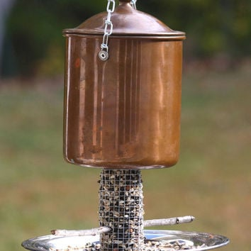 Handmade bird feeder - Garden outdoor backyard patio decor - Rustic OOAK bird watcher gift - Christmas gift - Copper tin bird feeder