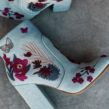 Bamboo Floral Denim Boho Boots