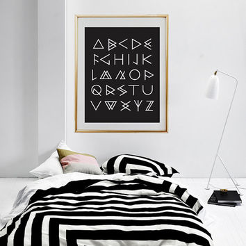 Aztec Alphabet Poster, Typography Poster, Caligraphy Prints, Aztec Print, Aztec Wall Art, Home Decor, Bedroom Wall Decor.