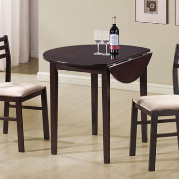 "3 pc set cappuccino finish wood dining set with a 36""dia drop leaf table"