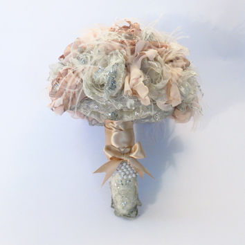 Bridal brooch silver and dusty pink fabric bouquet vintage style fabric bouquet flower bouquet dusty pink and silver bouquet wedding flowers